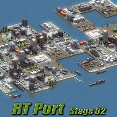 3d port harbour industrial ocean scene