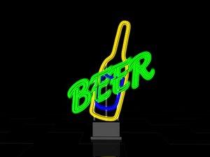 c4d neon beer sign