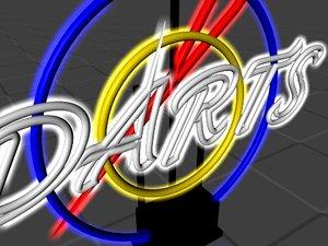 3d neon darts sign