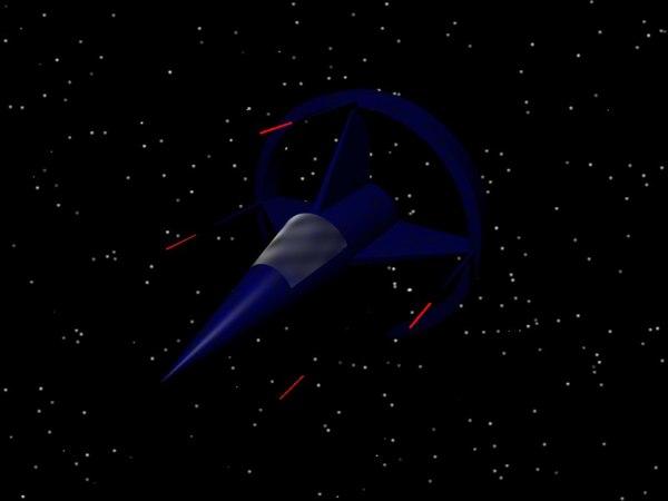 free obj mode blue devil spaceship
