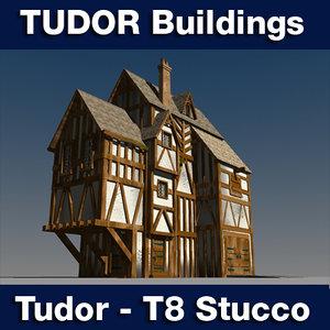t8 tudor style medieval building 3d model