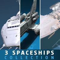 3d 3 spaceships