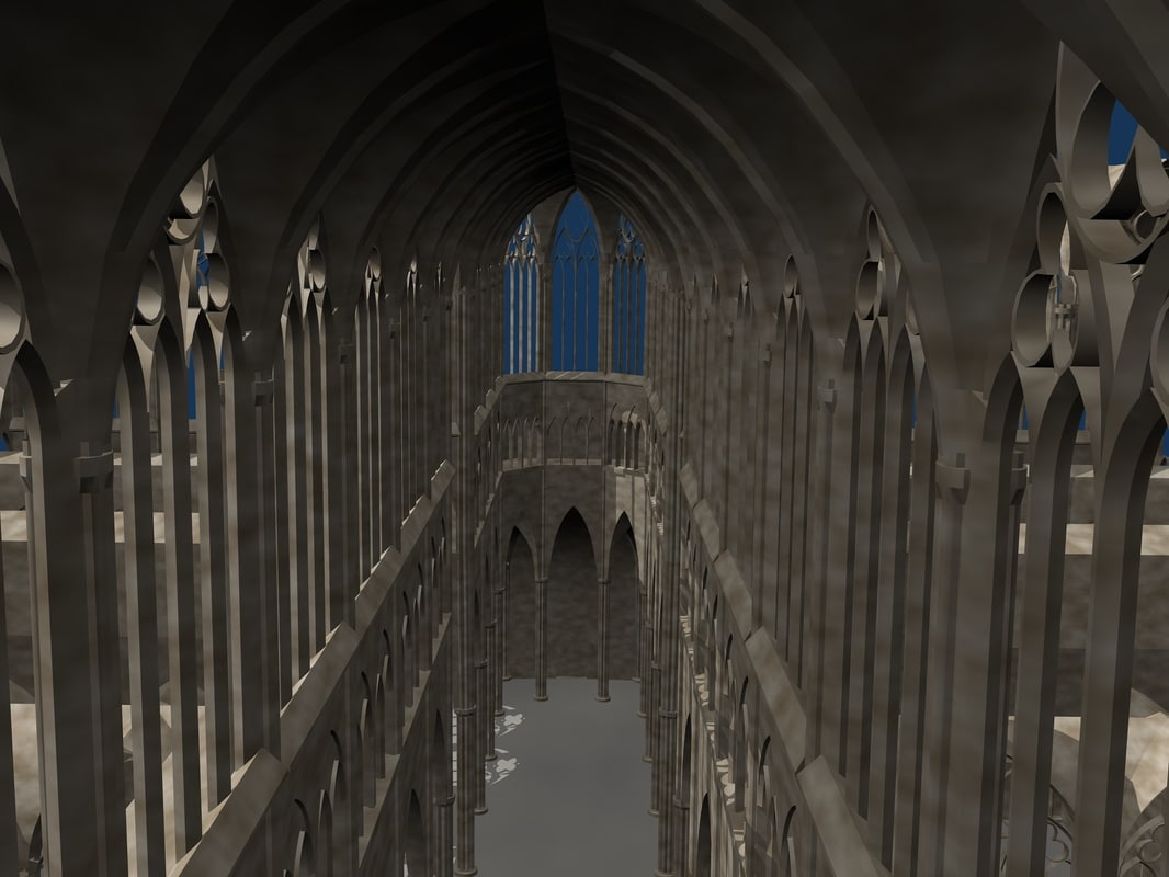 3dsmax realistic gothic cathedral