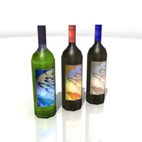 3d wine bottles model