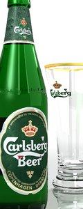 3d model carlsberg set glass bottle