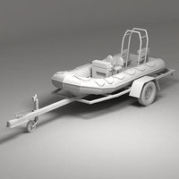 Dinghy  and trailer 3ds