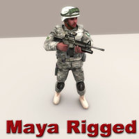 usarmy rigged soldiers 3d model