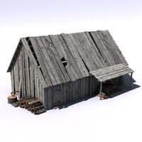 3d house hut model