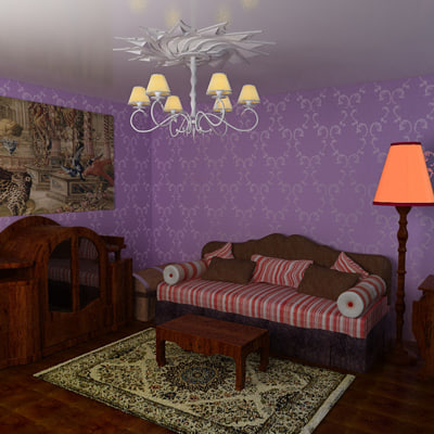 3d room purple