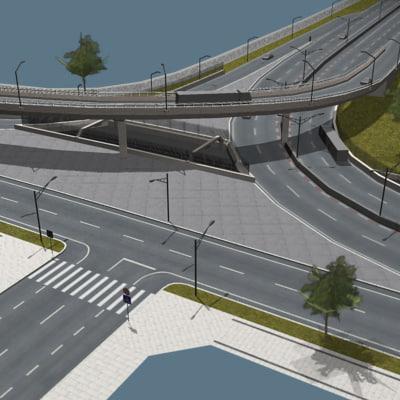 3d street highway complex model