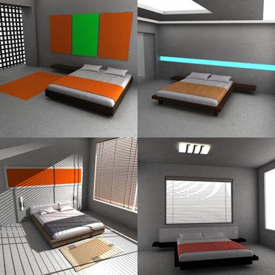 3d model of bed bedroom