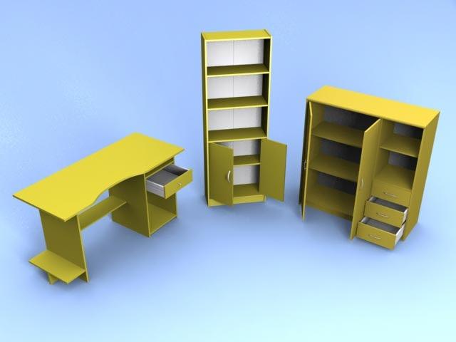 3ds max furniture desk polys bookshelf