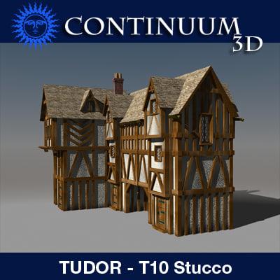 3d model t10 tudor style medieval building