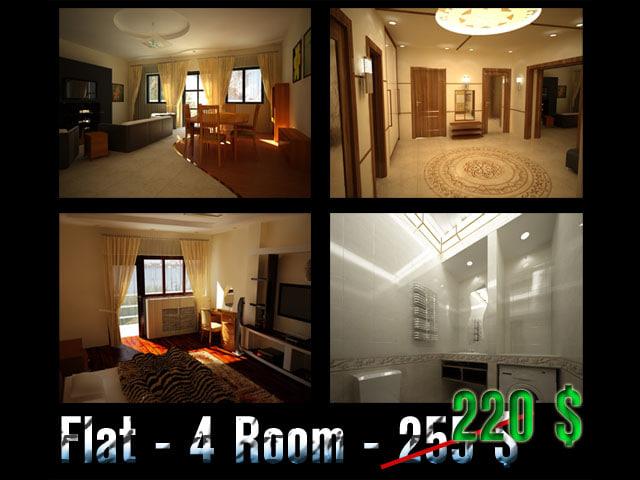 flat 4 room 3d max