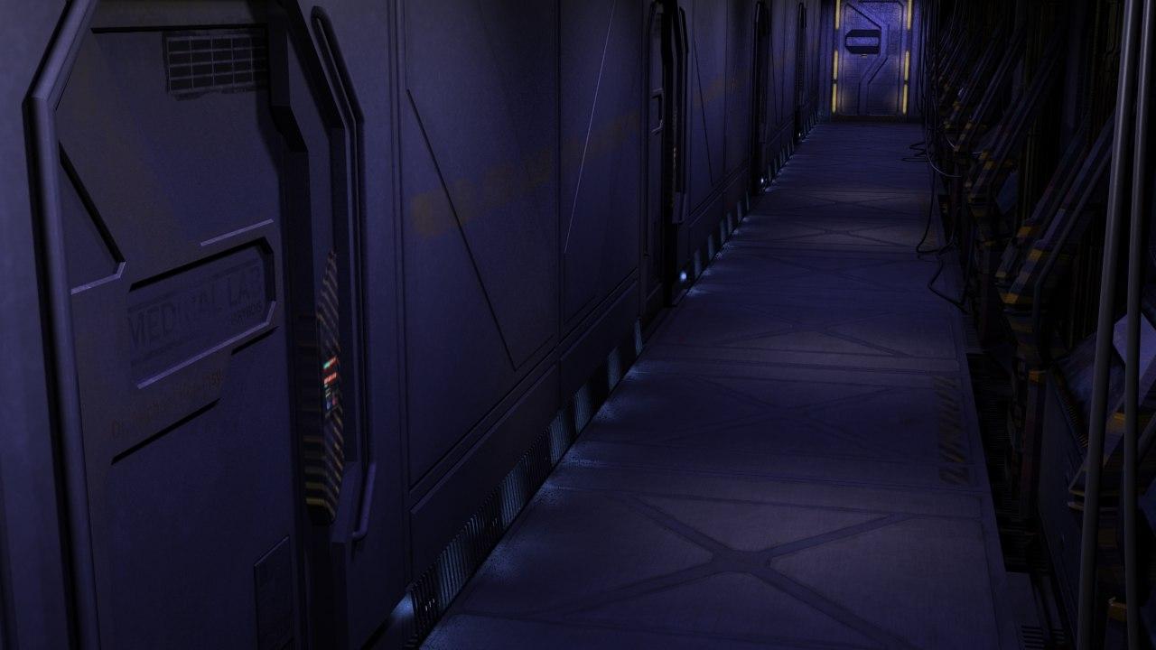 space ship corridor 3d model
