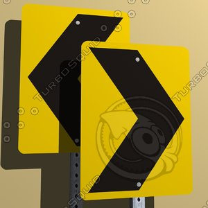left warning chevrons sign 3ds