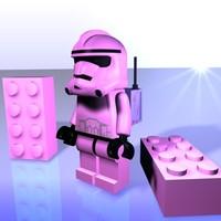 free c4d model pink lego