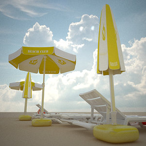 3ds beach furniture parasol deckchair