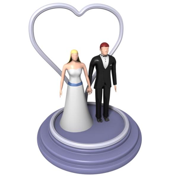 bride groom figures wedding cake 3d model