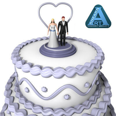 wedding cake figures 3d model