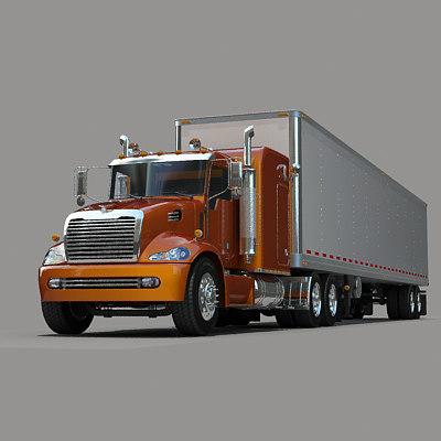 3d semi truck trailer