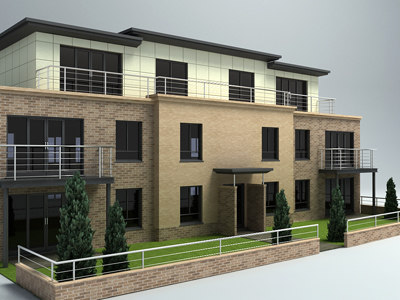 3d model of 3 storey apartment modern