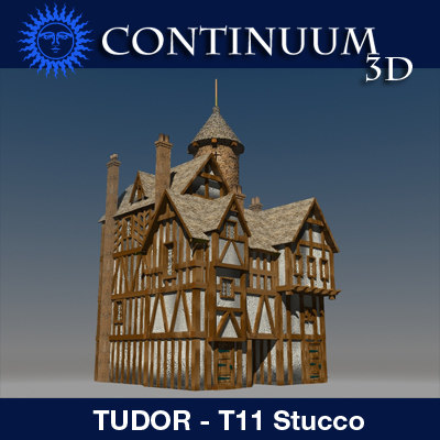 t11 tudor style medieval building 3d model