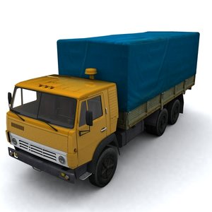 3dsmax low-poly kamaz truck