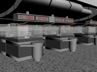 huston airport ticket booth 3d max