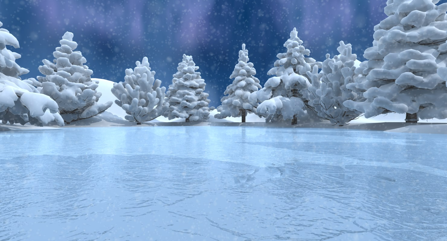 3d model winter scene lake conifer trees