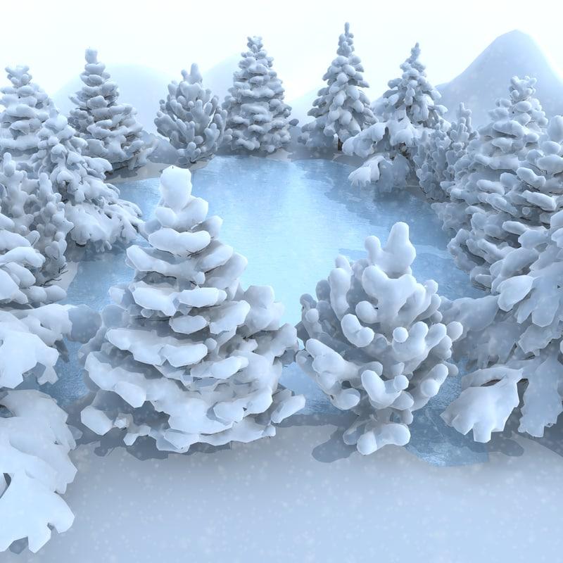 3d model winter scene lake conifer trees