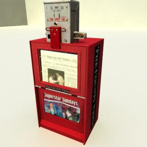 3d newspaper machine model