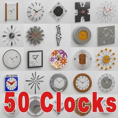 3d 50 wall clocks model