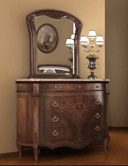3d old dressing table dresser model