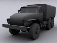 russian army truck ural 3d model