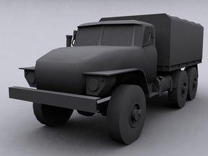 russian army truck ural 3d model