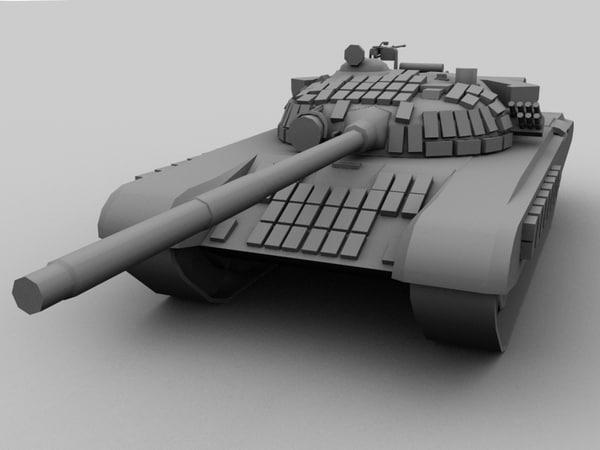 t 72 b tank 3d model