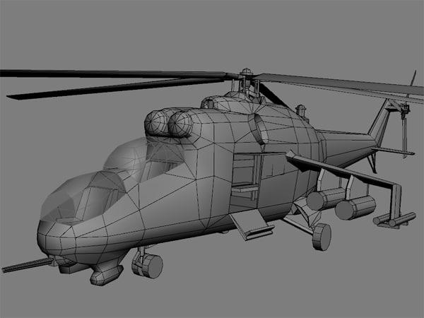 mi 24 hind helicopter 3d model