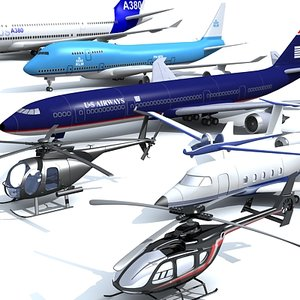 aircraft pack jet helicopters 3ds