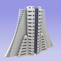 3d model building modern sci-fi