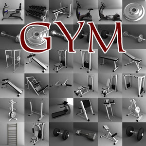 3d model gym large fitness machines