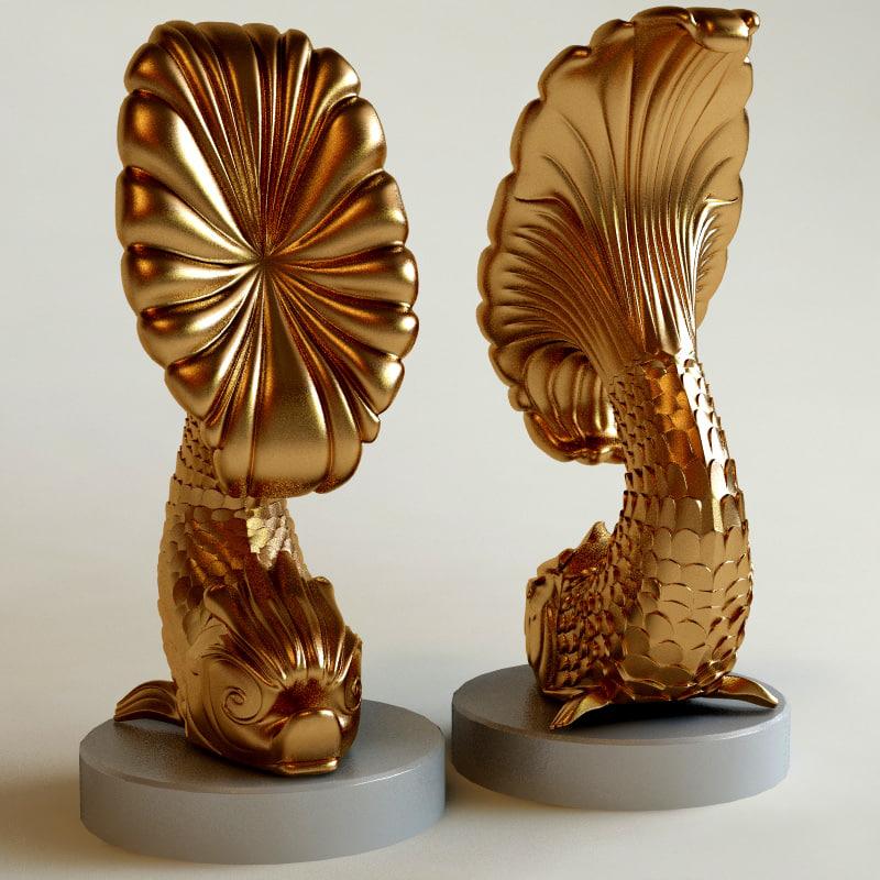 3d fish statuette model