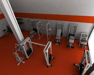 3d model of gym fitness