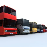 Low Poly Bus Collection