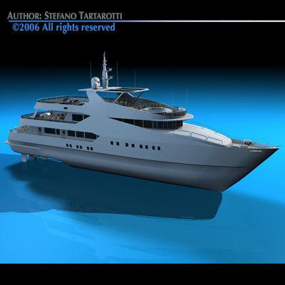 luxury yacht zodiac boat 3d c4d