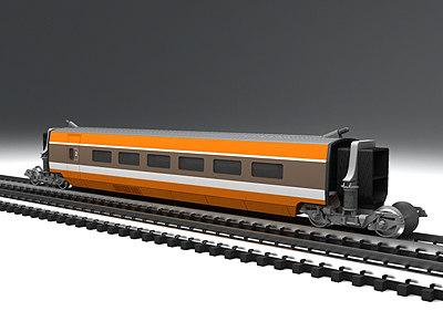 3d tgv high-speed train intermediate model