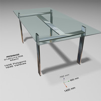 3d model of glass dining table -