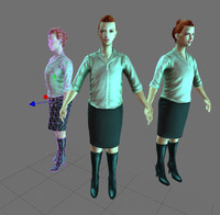rigged real time character female 3d ma