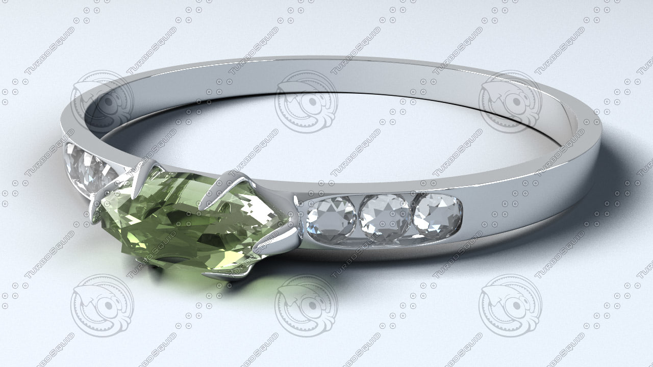engagement ring peridot 3d lwo