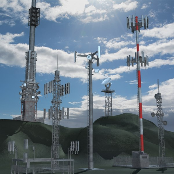 telecommunication towers communication dish antenna 3d model